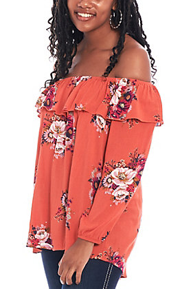 Jody Women's Floral Peasant Off Shoulder Fashion Top
