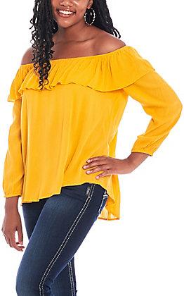 Jody Women's Gold Peasant Off Shoulder Fashion Top