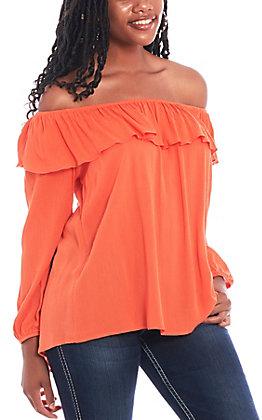 Jody Women's Orange Peasant Off Shoulder Fashion Top