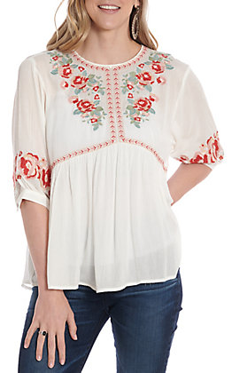 April Sky Women's Ivory Floral Embroidered Fashion Top