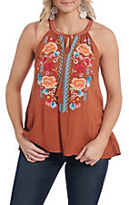 April Sky Women's Amber Floral Embroidered Halter Fashion Shirt