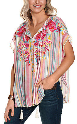 Savanna Jane Women's Pink Multi Stripes with Floral Embroidery Short Sleeve Poncho Fashion Top