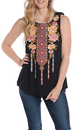April Sky Women's Black Floral Embroidered Fashion Tank