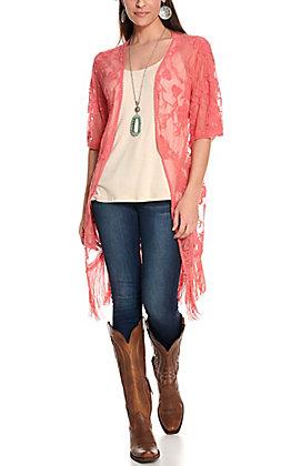 Jody Women's Coral Lace Fringe Kimono