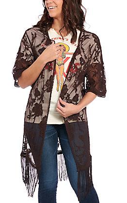 Jody Women's Chocolate Lace Fringe Kimono