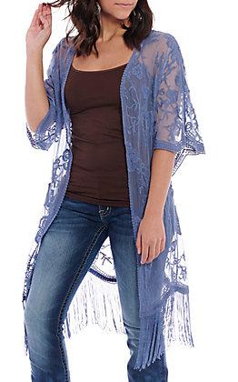 Jody Women's Periwinkle Lace Fringe Kimono