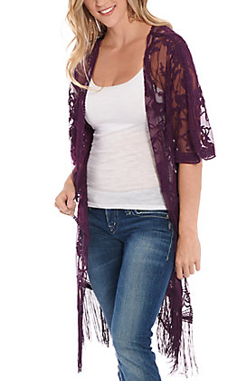 Jody Women's Purple Lace With Fringe Kimono