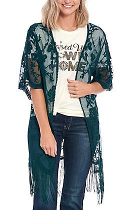 Jody Women's Hunter Teal Lace Fringe Kimono