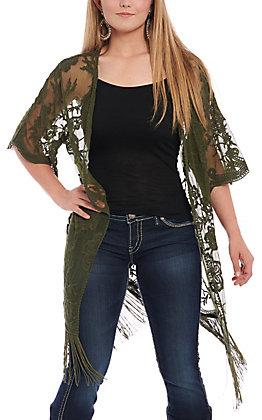 Jody Women's Olive Lace Fringe Kimono