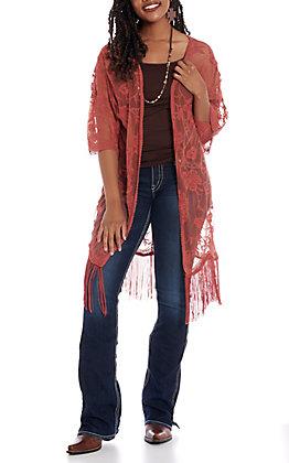 Jody Women's Rust Lace Fringe Kimono