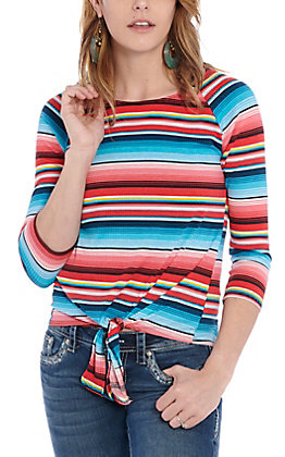 Jody Women's Multi Color Striped Casual Knit Top