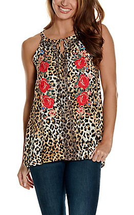 Savanna Jane Women's Leopard Print with Floral Embroidery Sleeveless Halter Fashion Tank Top