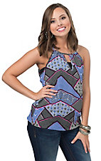 Renee C. Women's Blue & Fuchsia Sleeveless Top
