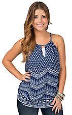 Renee C. Women's Navy & White Bandana Tank
