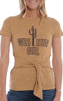 Jody Women's Mustard Western Girl Tie Front Casual Knit Top