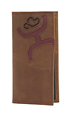 Hooey Men's Brown with Burgundy Inlay Rodeo Wallet