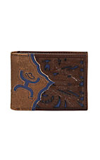 Hooey Men's Brown with Floral Western Blue Inlay Bi-Fold Wallet
