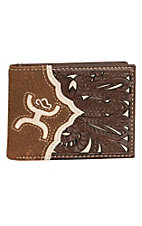 Hooey Men's Brown with Floral Western Bone Inlay Bi-Fold Wallet