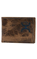 HOOey Bifold Distressed Brown with Blue Cowboy Logo Inlay Wallet