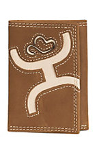 HOOey Trifold Distressed Brown with Bone Cowboy Logo Inlay Wallet