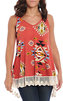 Jody Women's Coral Aztec & Lace Fashion Tank
