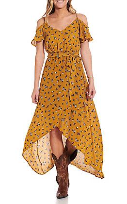 Jody Women's Mustard Floral High-Low Off The Shoulder Dress