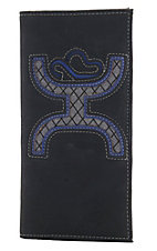 Hooey Men's Black with Grey Fabric Inlay Rodeo Wallet
