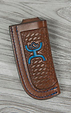 Hooey Signature Brown Basketweave with Blue Logo Leather Knife Sheath