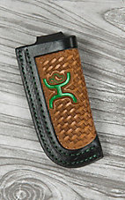Hooey Signature Tan Basketweave with Green Logo & Black Trim Leather Knife Sheath