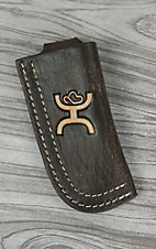Hooey Signature Distressed Chocolate with Bone Logo Leather Knife Sheath
