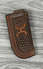 Hooey Signature Chocolate Basketweave with Orange Logo Leather Knife Sheath
