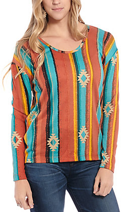 Jody Women's Orange & Teal Aztec Serape Fashion Top