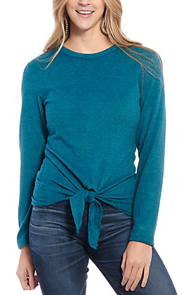 Jody Women's Teal Tie Front Long Sleeve Fashion Top
