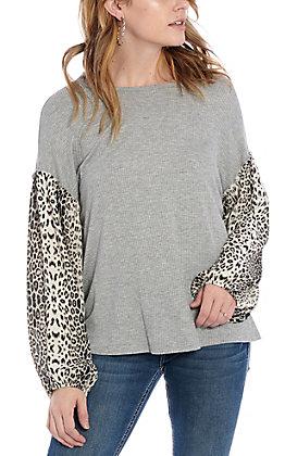Jody Women's Grey with Leopard Print Sleeves Fashion Top