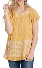 April Sky Women's Gold Aztec Embroidered Short Sleeve Fashion Top
