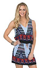 Renee C. Women's Blue & Red Print Tiered Sleeveless Dress