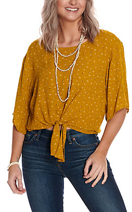 Jody Women's Mustard with White Print Tie Front 3/4 Sleeve Fashion Top