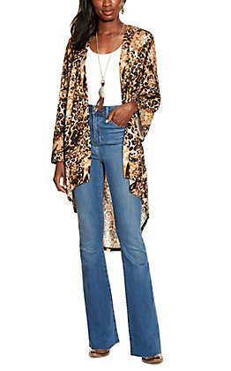 Jody Women's Leopard Print Long Sleeve Kimono