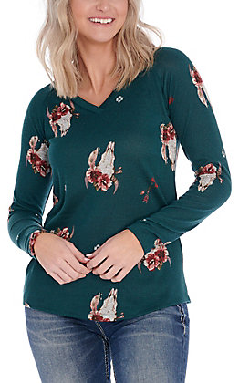 Jody Women's Hunter Green Floral Skull and Arrow Knit Fashion Top