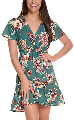 Jody Women's Green Floral Print with Buttons Wrap Front Short Sleeve Dress