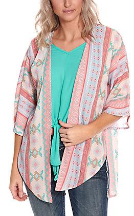 Jody Women's Coral, Lavender and Mint Aztec Print Kimono