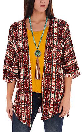 Jody Women's Burgundy and Teal Aztec 3/4 Sleeve Kimono