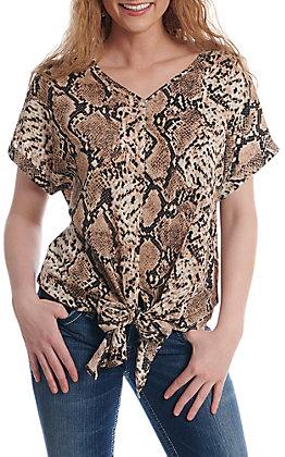 April Sky Women's Mocha Snake Print Tie Front Fashion Top