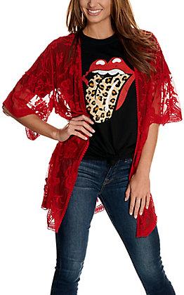 Jody Women's Chili Red Lace 3/4 Sleeve Kimono