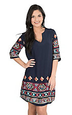 Renee C. Women's Navy with Multi Colored Embroidery and Half Sleeves Dress