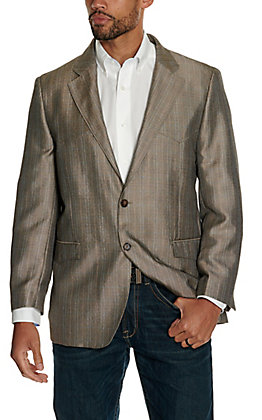 Red Sky Men's Tan Micro Plaid Western Blazer