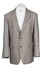 Red Sky Men's Tan Micro Plaid Western Blazer Big & Tall