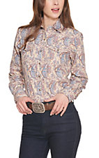 Wired Heart Women's Tan Floral Paisley Print Long Sleeve Western Shirt
