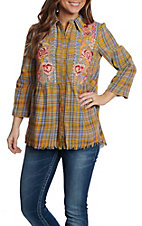 April Sky Women's Mustard Plaid Button Down Fashion Top