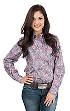 Wired Heart Women's Pink and Grey Paisley Print Long Sleeve Western Shirt